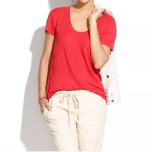 "Madewell ""Time Off"" scoopneck linen pocket T"